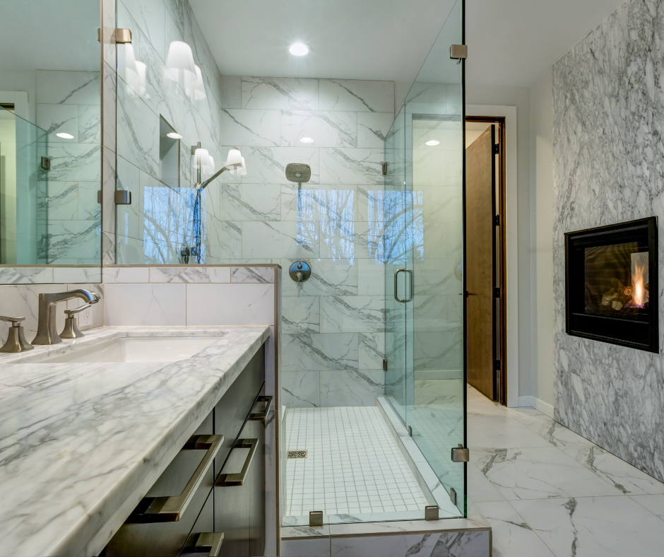 white marble bathroom with marble look vinyl tile flooring